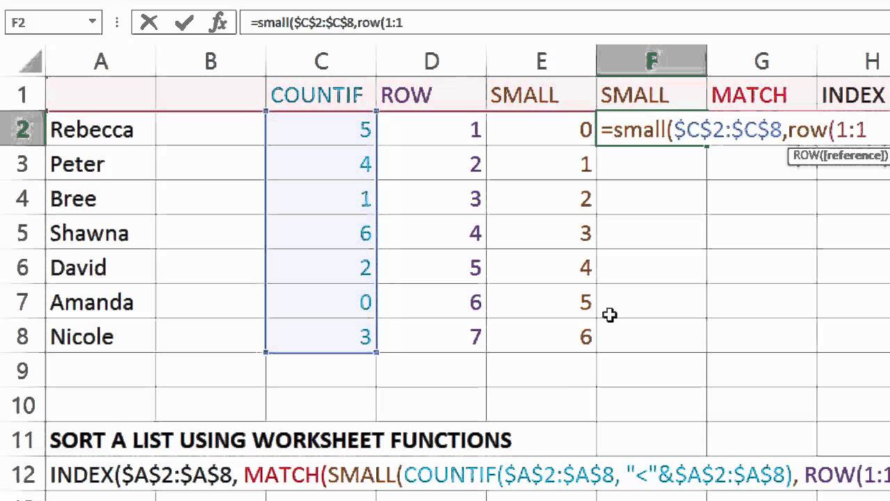 Excel: Sort a List using INDEX and MATCH Worksheet Functions - YouTube