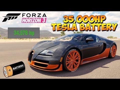 Forza Horizon 3 - Bugatti With 35,000HP Tesla Motor - Dev Mods