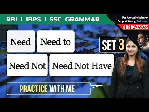 How to Use Need, Need To in English Language   Grammar Set 3 for IBPS, RBI & SSC   Best Explanation