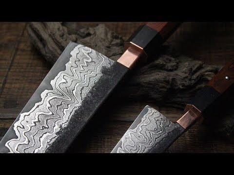 Creating a Chefs Dream Japanese Knife set from San Mai Damascus steel