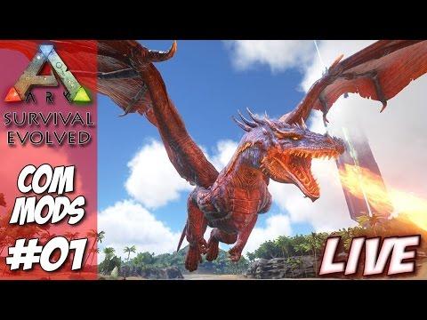 ARK Survival Evolved COM MODS #01 - Conhecendo o novo servidor (Ft. Pedrão e Santana) #LiveJrEMi