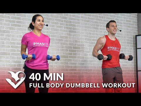 40 Min Full Body Dumbbell Workout at Home Routine Total Body Workout with Weights for Women & Men