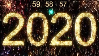 2020 New Year Countdown 4K Animation Gold Glittering Lights Christmas Eve Clock Timer Counter