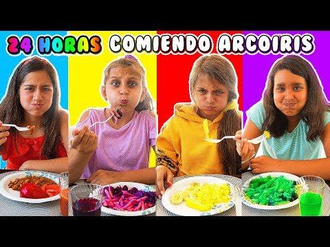 24 HORAS COMIENDO ARCORIS - Mimi Land reto comida rosa, azul, verde por un da!