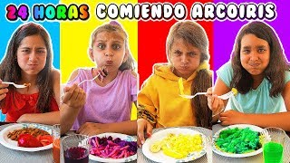 24 HORAS COMIENDO ARCOÍRIS - Mimi Land reto comida rosa, azul, verde por un día!