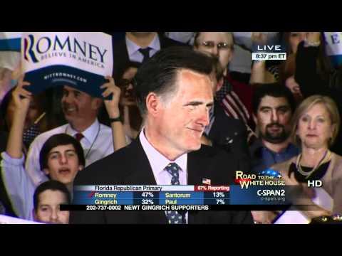 Mitt Romney Florida Republican Primary Victory Speech (C-SPAN)