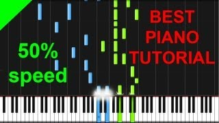 Green Day - Boulevard of Broken Dreams 50% speed piano tutorial