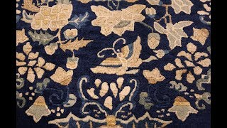 Room Size Navy Background Antique Chinese Rug 49474 by Nazmiyal