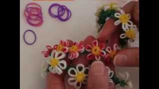 Rainbow Loom™  MonsterTail™  Daisy Flower Charm Bracelet Turorial