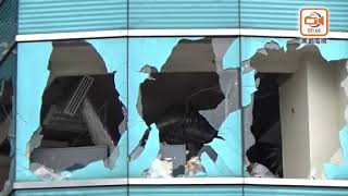 山竹襲港︰紅磡海濱廣場內部照曝光 辦公室淪廢墟