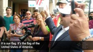 Anti-Trump protesters and Supporters clash at rally in Tampa Florida