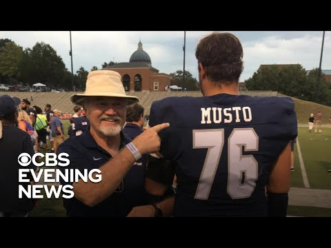 Football player surprises his step-dad with a new jersey