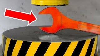 experiment glowing 1000 degree wrench vs hydraulic press 100 ton
