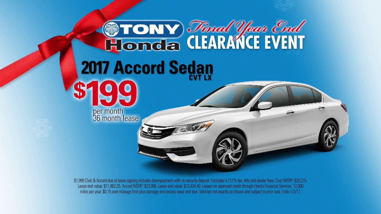 Marvelous 2016 Year End Clearance Event   Tony Honda