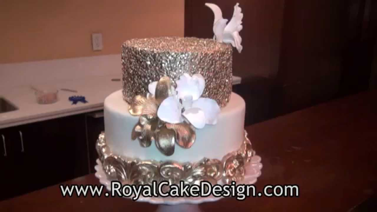 How To Decorate A Cake With Gold Sequins By Royal Cake