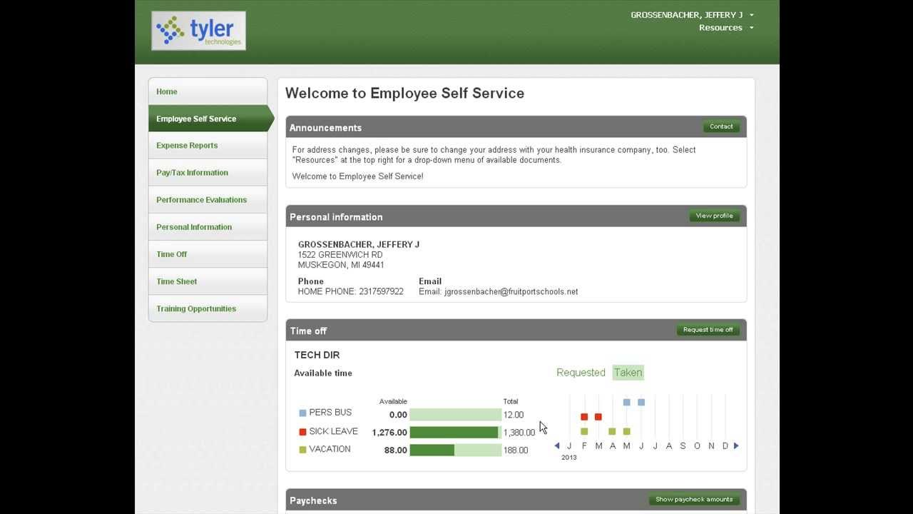 Employee Self Service User Guide | School Administration