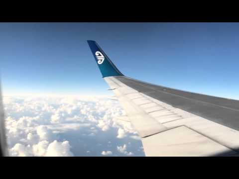Air NZ flight above Tasman Sea