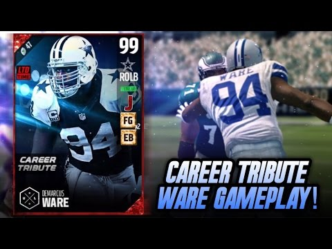 CAREER TRIBUTE DEMARCUS WARE GAMEPLAY! PASS RUSHER AND COVERAGE! | MADDEN 17 ULTIMATE TEAM