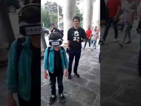 Kid On VR Headset At Vegan Street Info Stand Dublin