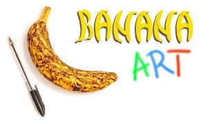 Banana Art. DIY carved and painted banana. How to create art from a banana.