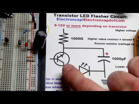 Single NPN Bipolar Junction Transistor LED flasher circuit updated diagram  learning electronics