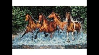 """27 Продвижение вышивки крестиком  набора от  Dimensions """"Бегущие лошади"""""""