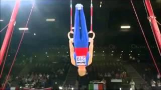 バランディン選手 吊り輪 懸垂から伸腕伸身十字倒立(2秒)(バランディー2)
