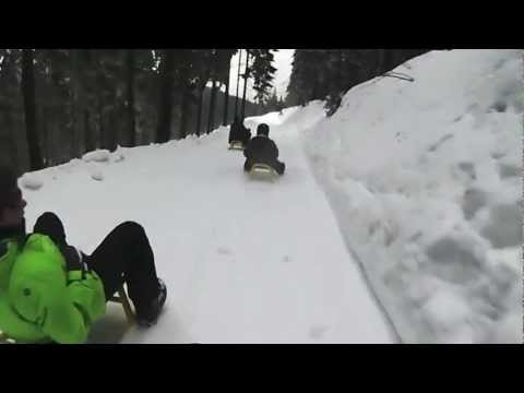 Downhill sled ride