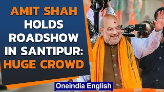 Bengal polls: Amit Shah holds roadshow in Santipur, social distancing norms flouted| Oneindia News