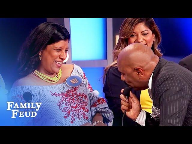 Steve and Inez get CALIENTE! | Family Feud