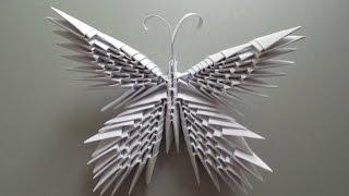 БАБОЧКА - Модульное Оригами Своими Руками.  Видео(В видео показано, как сделать БАБОЧКУ из треугольных модулей своими руками. Модули делаются из прямоугольн..., 2015-11-03T07:00:01.000Z)