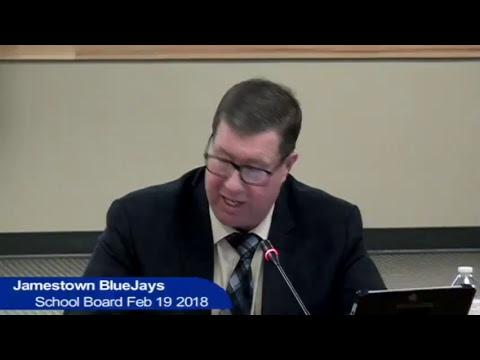 Jamestown Public Schools Board Meeting Feb 19 2018