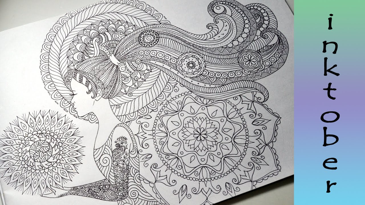 Doodle Girl With Pattern Hair Zendales Zentangle Style