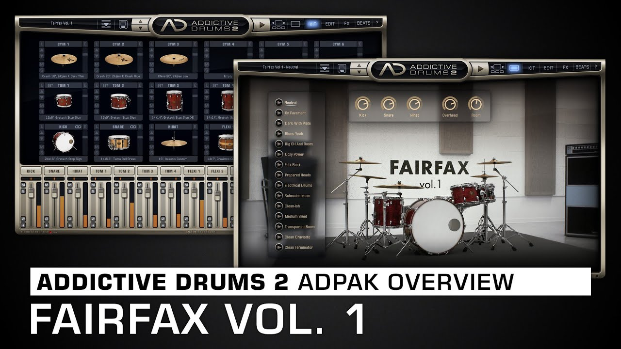 Addictive Drums 2 ADpak Overview: Fairfax Vol  1