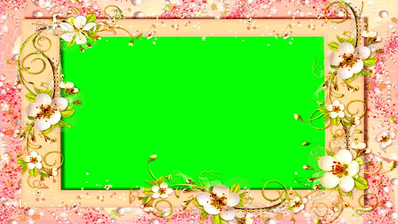 green screen frame with flowers   free download