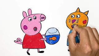 Peppa Pig, Draw, Coloring, 페파피…