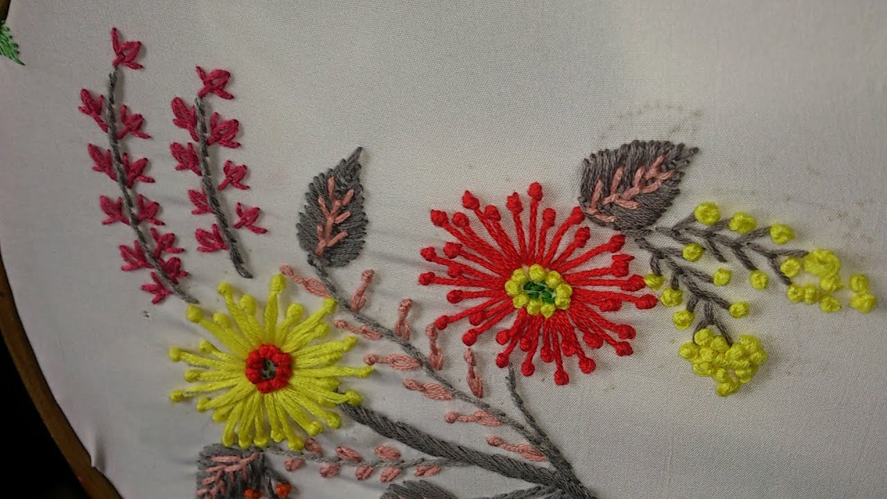 Hand embroidery long french knot flowers fly stitch