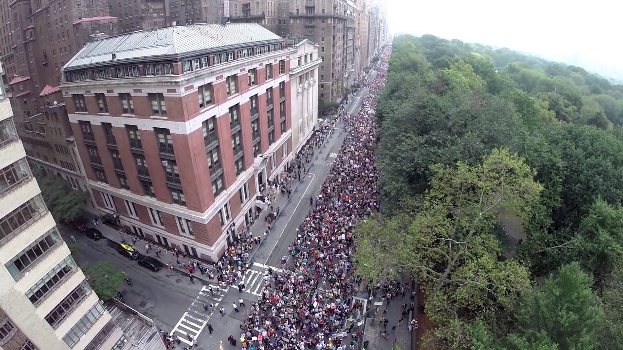 Aerial Drone Video Footage From Peoples Climate March In New York City