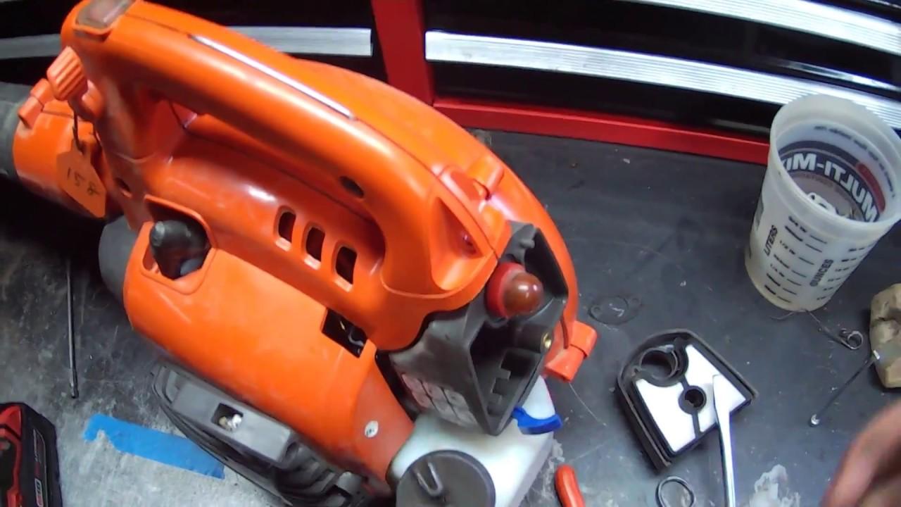 HOW TO - husqvarna 125 B handheld leaf blower bogging carburetor carb  replacement