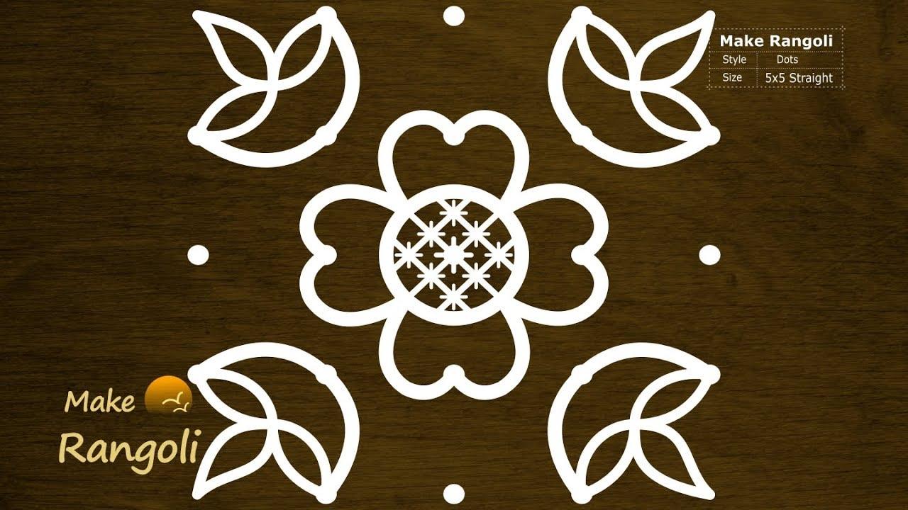 Cute Flower And Deepam Kolam With 5x5