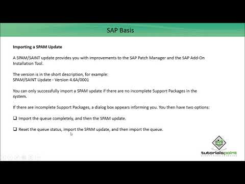 SAP Basis - SPAM Load & Update - Tutorials Point (India) Pvt