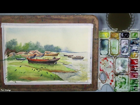 Watercolor Painting | A Riverside Landscape | step by step