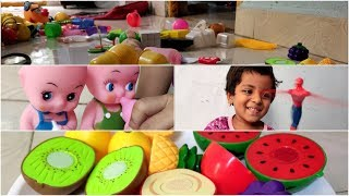 Nursing Babies | Vegetables and Fruits Cutting | Playing with Toys