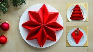 Servietten falten: Weihnachten - Ideen zum Tischdeko basteln - Weihnachtsdeko selber machen. Origami