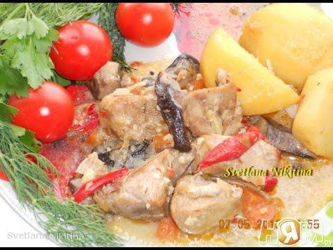 Жаркое из свинины с картофелем и грибами в мультиварке