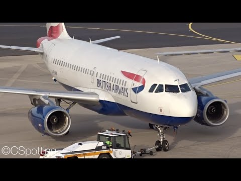 British Airways Airbus A319 takeoff + landing at Düsseldorf Airport