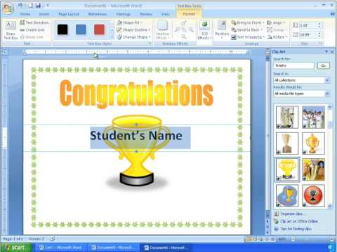 Word 2007 Tutorial 16 - Making a More Advanced Certificate - YouTube - how to make certificates in word