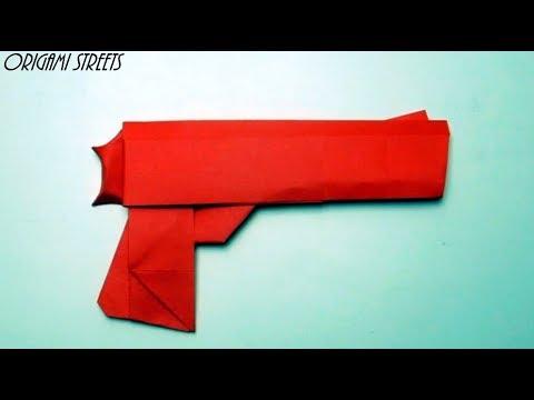 Как сделать пистолет из бумаги. Оригами пистолет. Оружие из бумаги.