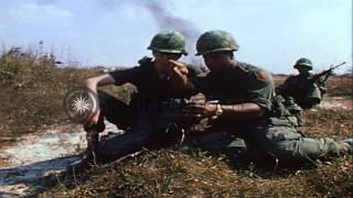 1st Infantry Division soldiers position and place Claymore mines in Vietnam. HD Stock Footage