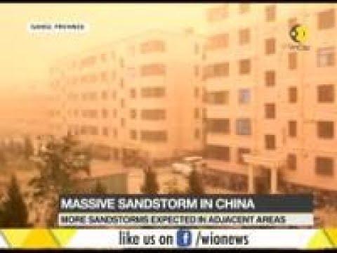 Wall of sand engulfs Chinese province Gansu